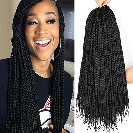 Color 1B (off black) 6Packs - 18 inch Crochet Box Braids