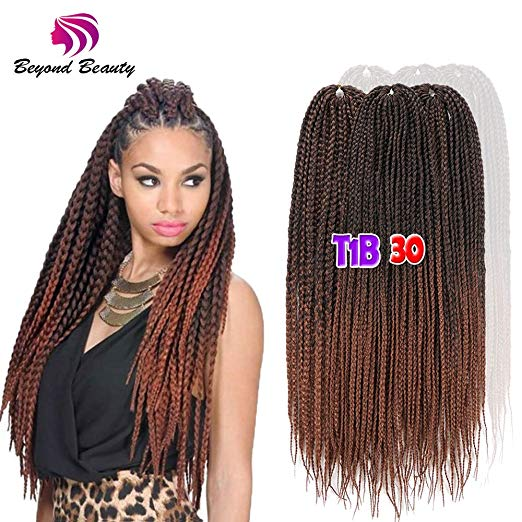 Colors 1b and 30 - 24inch - Ombre Crochet Box Braids