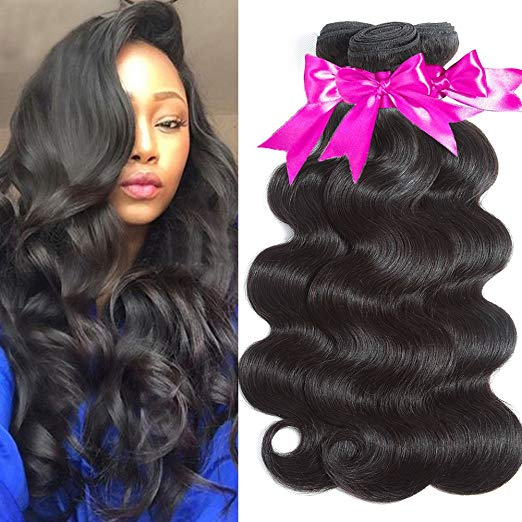Flady Brazilian Body Wave Virgin Hair - 3 Bundles, Grade 10A - Unprocessed Remy Human Hair Weave - Natural Black