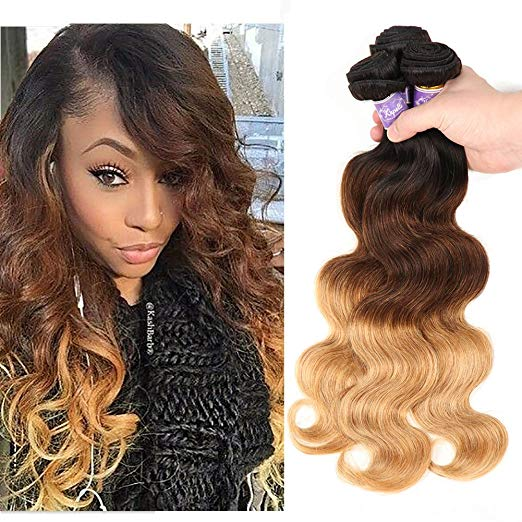Kapelli Hair Ombre, Three (3) - Tone (T1B/4/27) Brazilian Body Wave Virgin Hair - 3 Bundles