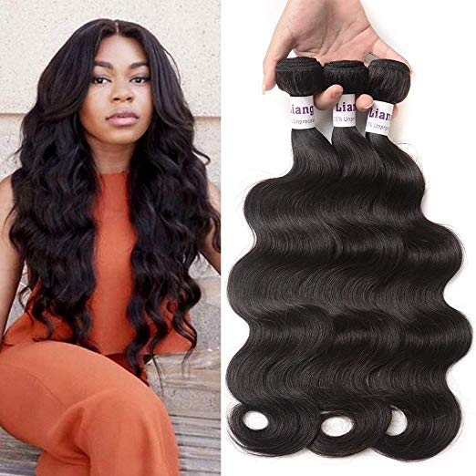 LiangDian 7A Brazilian Body Wave Hair - 3 Bundles Virgin Hair - Natural Black