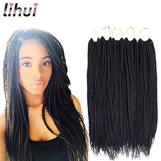 Lihui 7Pcs - 24inch Crochet Box Braids - Color 1B (off black)