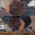 Senegalese Twist Curled with Flexirods in an Up-do. Colors 33 and 30. - Izey Hair - Las Vegas, NV