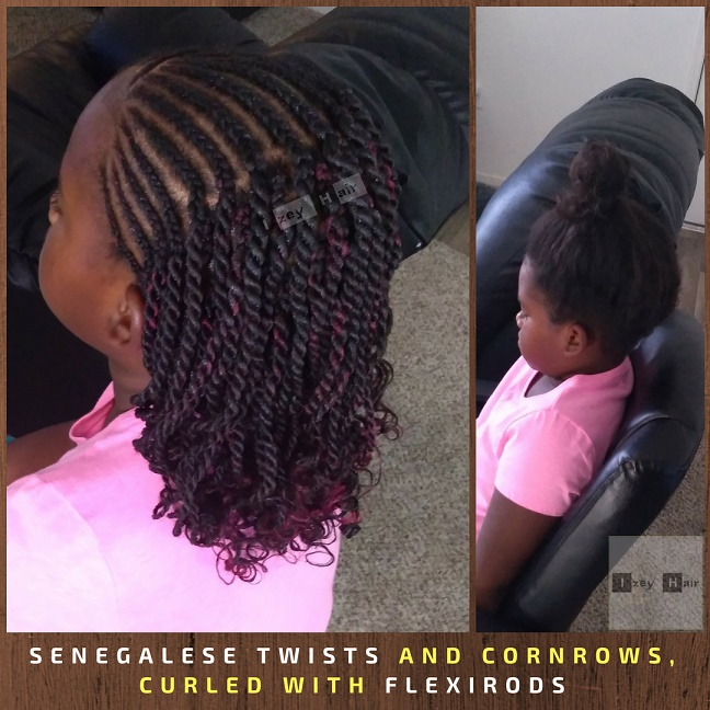 Senegalese Twists and Cornrows, Curled with Flexirods - Izey Hair - Las Vegas, NV