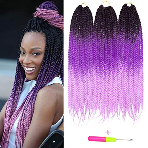 Three Tone Ombre Crochet Box Braids - Colors 1b, Purple and Pink