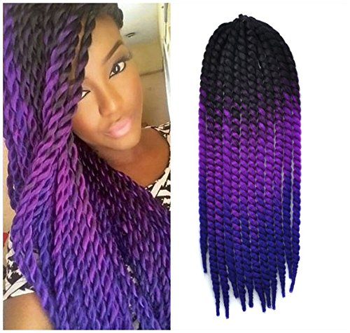 Black, Purple and Blue Ombre Havana Mambo Twist Crochet Hair