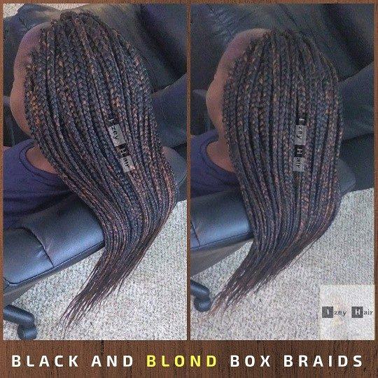 Black and Blond Box Braids by Izey Hair - Las Vegas, Nevada