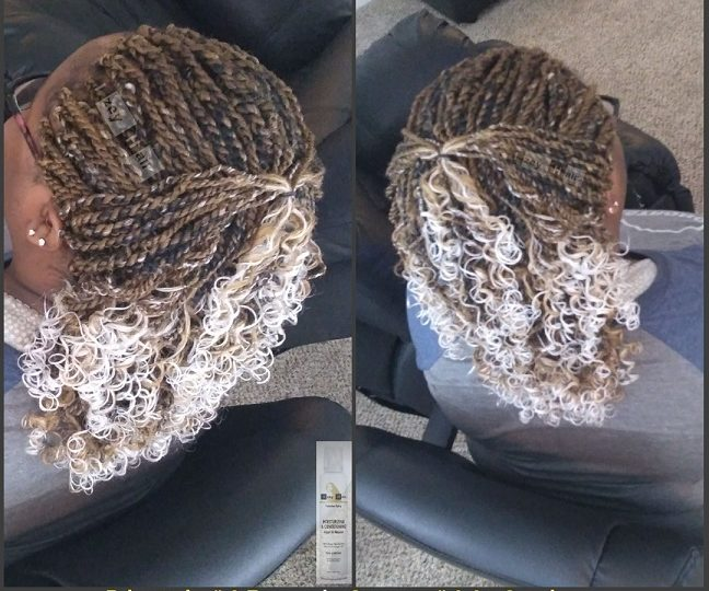 Blond #27 and Grey #60 Ombre Senegalese Twists curled with Flexirods - Izey Hair - Las Vegas, NV