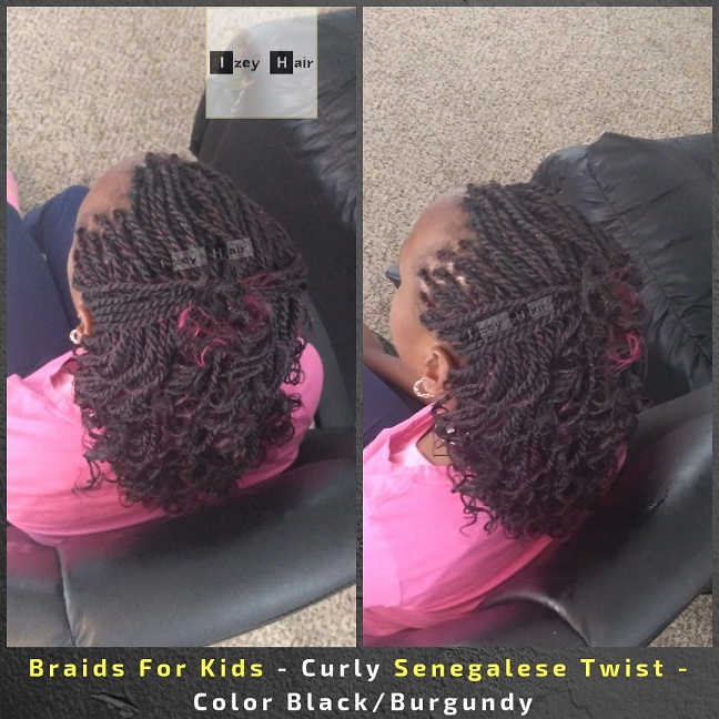 Braids For Kids - Kid Braids - Curly Senegalese Twist - Color Black and Burgundy - Izey Hair - Las Vegas, NV