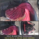 Half 1B and Half Burgundy Individual 2 Color (box) Braids - Izey Hair - Las Vegas, NV