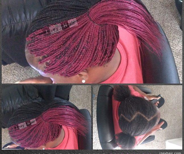 Half 1B and Half Burgundy Individual 2 Color (box) Braids - Izey Hair - Las Vegas, NV