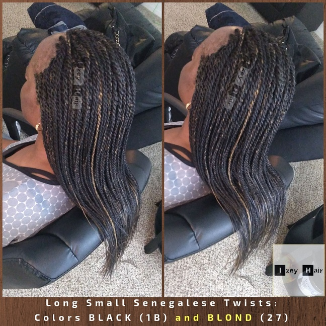 Long Small Senegalese Twists_ Colors BLACK (1B) and BLOND (27) - Izey Hair - Las Vegas, NV