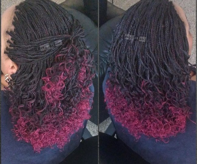 Ombre MICROBRAIDS - Color 1B and Burgundy
