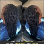 Part Feed-in (Feeding) Cornrows and Part Individual (Box) Braids. Feeding Cornrows is also known as (Feed-in) Feeding Braids.