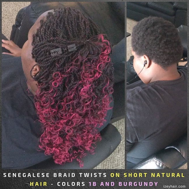 Senegalese Braid Twists on Short Natural Hair - Colors 1B and Burgundy.