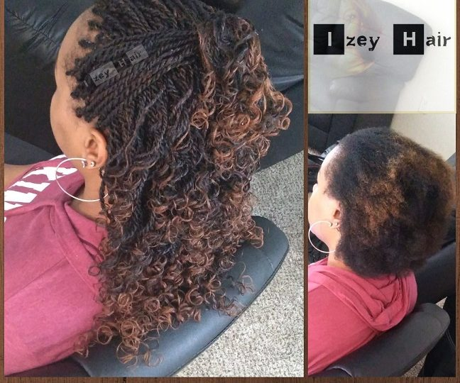 Small Senegalese Twists Curled with Flexirods - Colors 1B and 30 - Izey Hair - Las Vegas, NV
