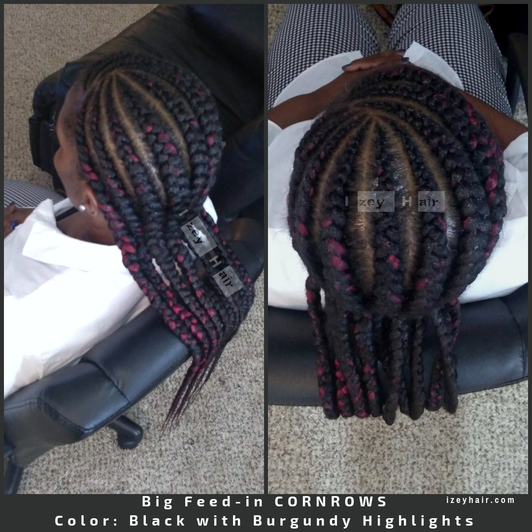 Straightback Big Feedin CORNROWS. Color Black with Burgundy Highlights.