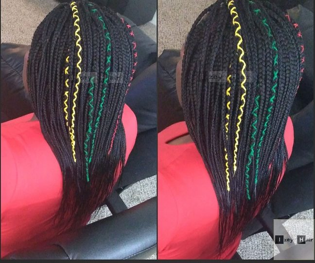 Box Braids with Yellow, Green and Red Braid Strings - Izey Hair - Las Vegas, NV