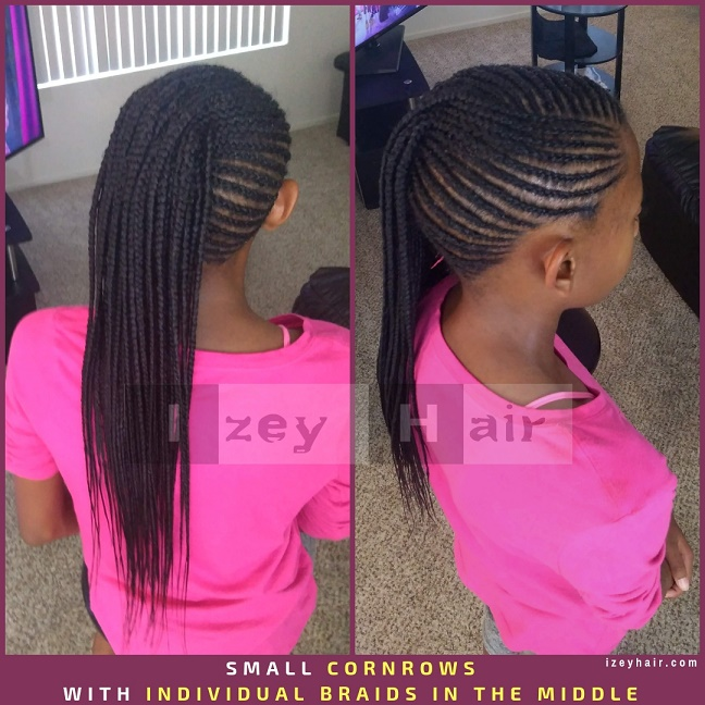 Braids for Kid - Small Cornrows with Individual Braids Box Braids in the Middle - Izey Hair - Las Vegas, NV