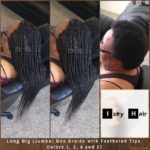 Long Big (Jumbo) Box Braids with Feathered Tips. Colors 1, 2, 4 and 27