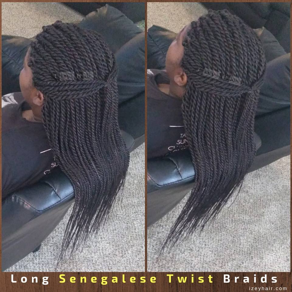 Long Senegalese Twist Braids by IzeyHair in Las Vegas, NV.
