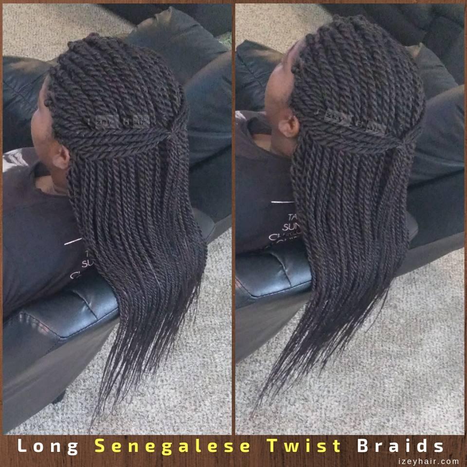 Long Senegalese Twist Braids by IzeyHair in Las Vegas, NV.