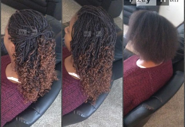 Ombre Curly Senegalese Twist. Color 1B and 30 - Izey Hair - Las Vegas, NV