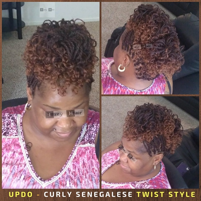 Updo - Curly Senegalese Twist Style - Color 1B and 30 - Izey Hair - Las Vegas, NV
