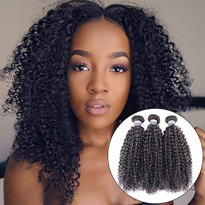 BLY Curly Human Hair Bundles 8A Malaysian Remy Virgin Kinky Curly Hair Extension Deep Curly Weave For Black Women 3 Bundles 300g Unprocessed Natural Black Color