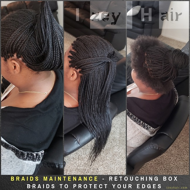 Braids Maintenance - Retouching Box Braids To Protect Your Edges