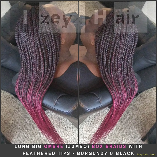 Long Big Ombre (Jumbo) Box Braids with Feathered Tips - Burgundy & Black - Izey Hair - Las Vegas, NV