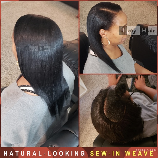Natural-looking Sew-in Weave With Straight Brazilian Hair - Izey Hair - Las Vegas, NV