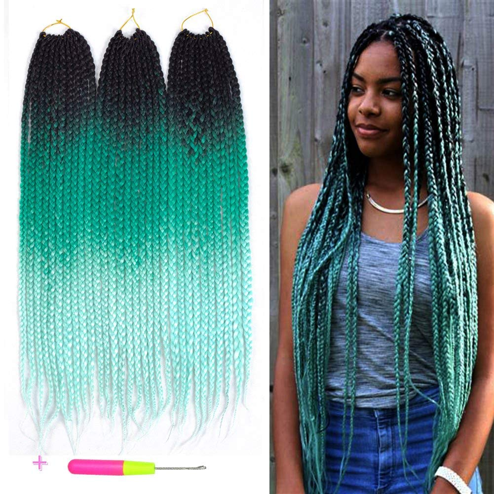 Crochet Box Braids - 3 Colors: 1b/green/light green