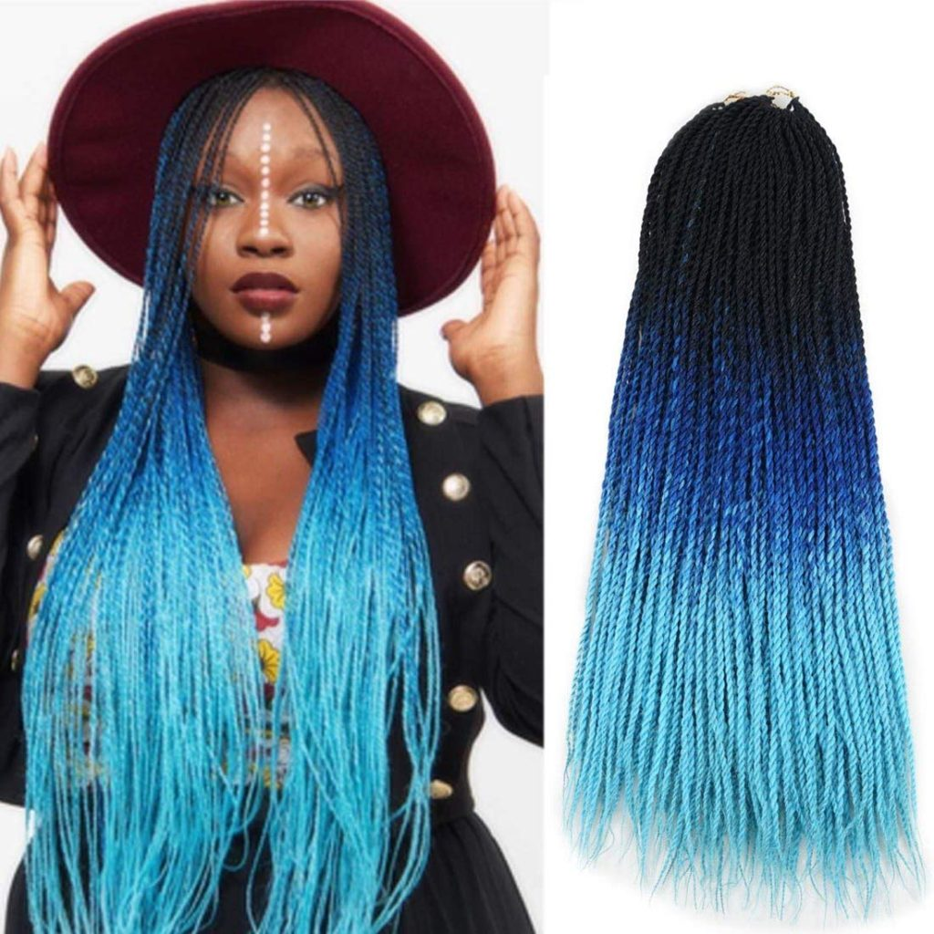 Crochet Senegalese Twist - 3 Colors: black/dark blue/light blue