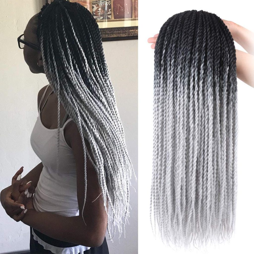 Crochet Senegalese Twist - 2 Colors: black and grey