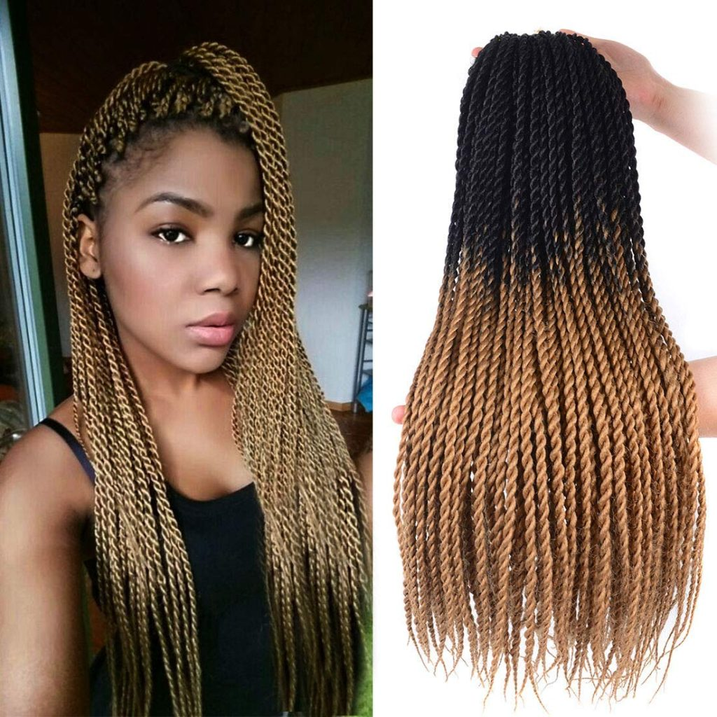 Crochet Senegalese Twist - 2 Colors: black and Auburn brown