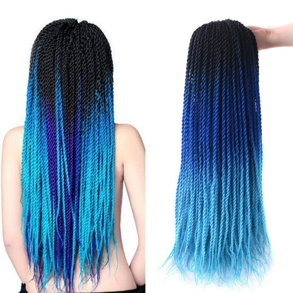 Crochet Senegalese Twist - 3 Colors: black/blue/azure