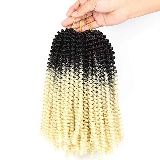 Spring Twist Hair Ombre Colors 3 Packs Synthetic Braiding Hair Extensions 8 inch fashion Crochet Braids(3 Packs,Black Blonde)