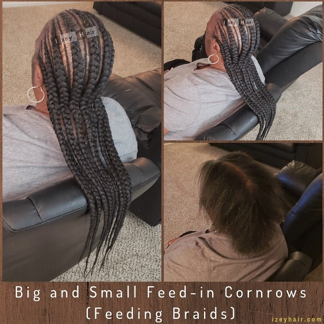 Big and Small Feed-in Cornrows (Feeding Braids) - Izey Hair - Las Vegas, NV