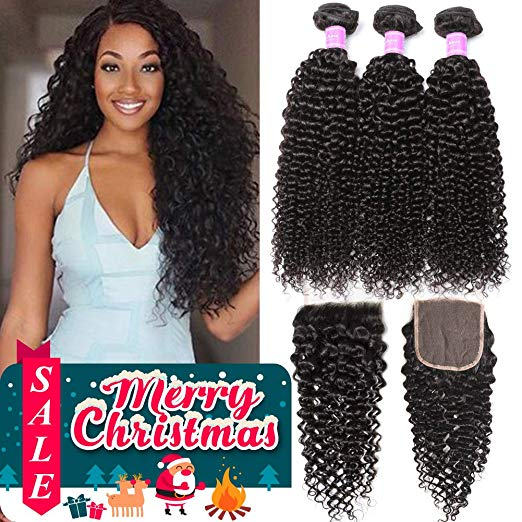 Christmas Sale. Brazilian Kinky Curls with Closure
