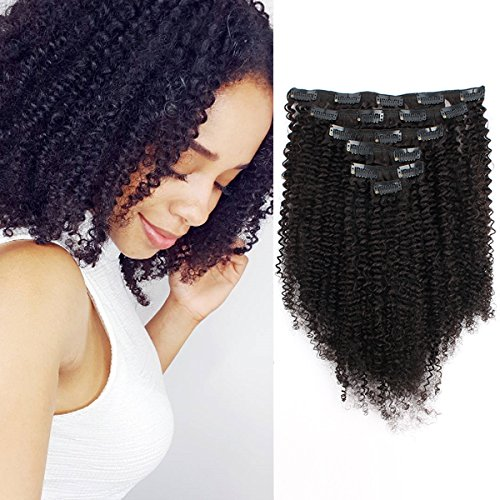 Grade 3C 4A Double Wefted Afro Kinky Curly Clip-in Hair Extensions by AmazingBeauty