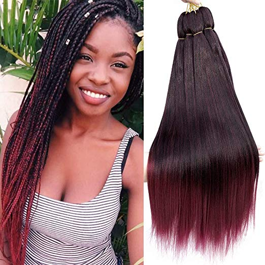 24inch Ombre Pre-Stretched Straight Hair for Braiding and Crochet