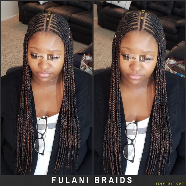 Fulani Braids with Gold Cuffs - Izey Hair - Las Vegas, NV