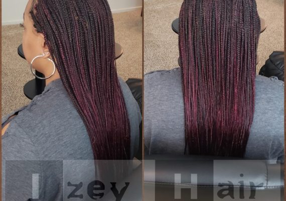 Long Individuals (Box Braids) BLACK and BURGUNDY - Izey Hair - Las Vegas, NV