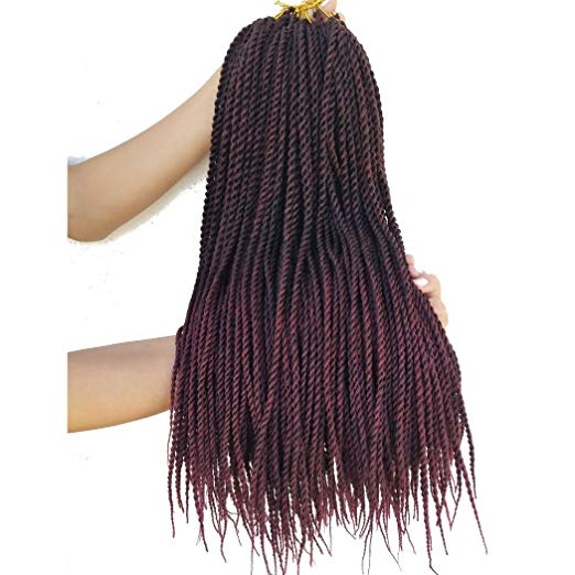 Colors 1B and Burgundy - Ombre Crochet Senegalese Twist