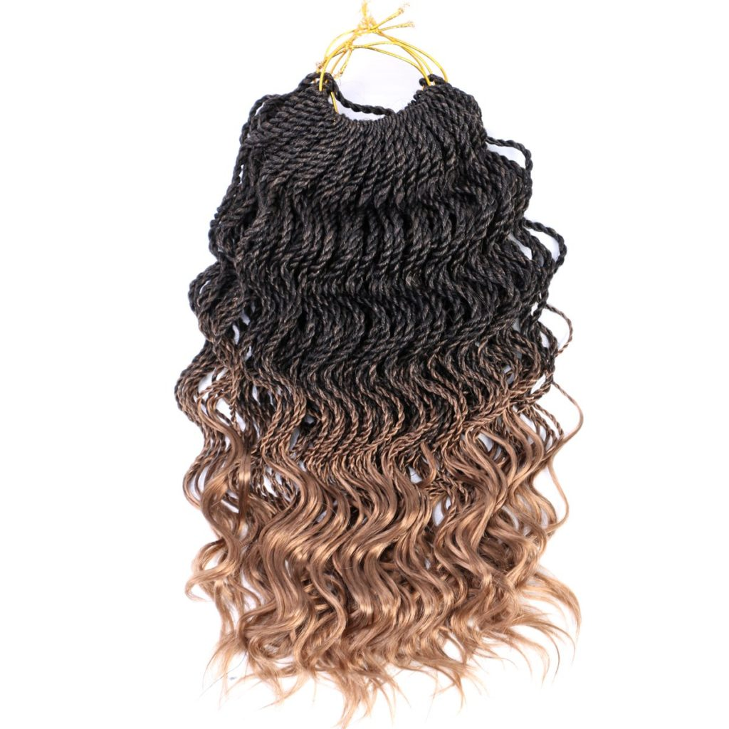 Colors Black & Blond (27) - Ombre Crochet Senegalese Twist - WAVY