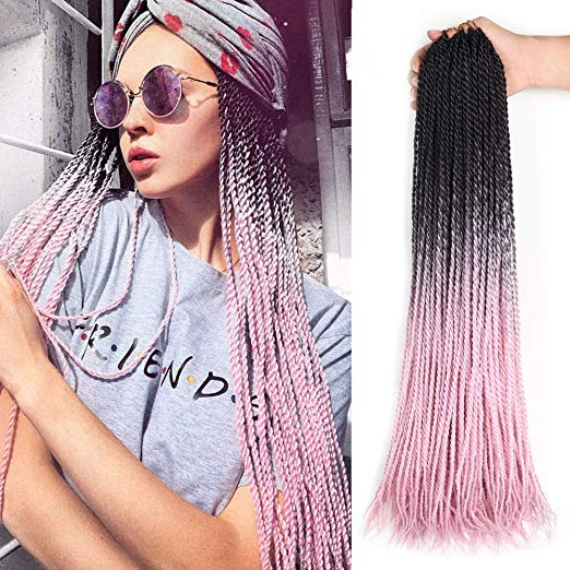 Colors Black, Grey & Pink - Ombre Crochet Senegalese Twist