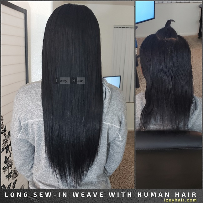 Long Sew-In Weave with Human Hair - Izey Hair - Las Vegas, NV