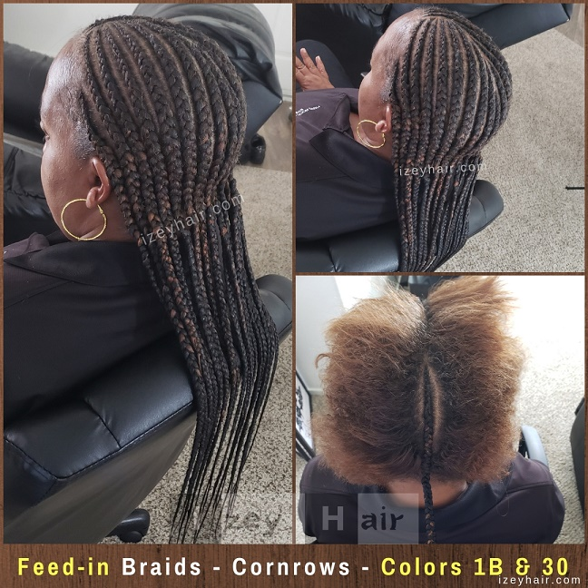 Feed-in Braids to the back - Cornrows - Colors 1B and 30 - Izey Hair - Las Vegas, NV