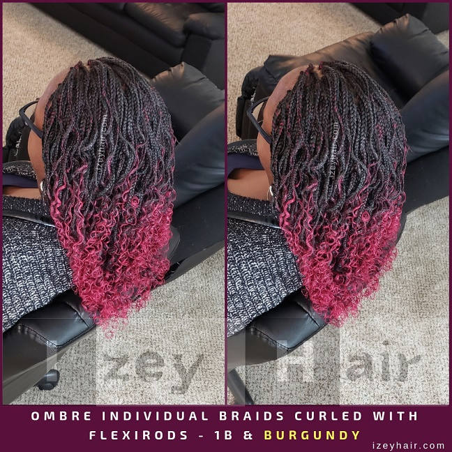 OMBRE Individual Braids CURLED WITH FLEXIRODS - 1B & BURGUNDY - Izey Hair - Las Vegas, NV